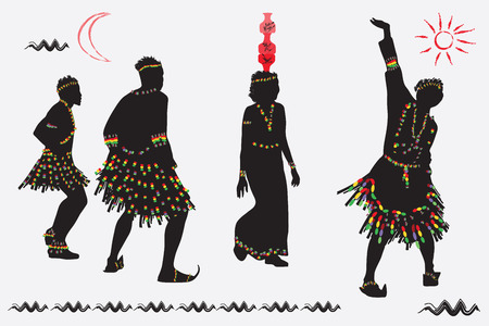 folk dance: African folk dance. Young men and women dancing against the background of the sun and the crescent Illustration