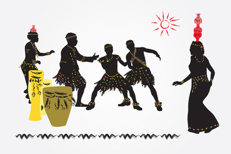 traditional culture: African folk dance. Women with jars on their heads and men dancing and having fun