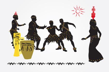 Danza folclórica africana. Las mujeres con los tarros en la cabeza y los hombres a bailar y divertirse