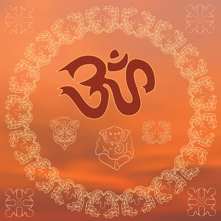 Om and other Hindu symbols on an orange background.