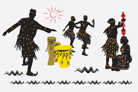 folk dance: African folk dance. Men and women dance. A man puts a pot on the head of a woman. Illustration