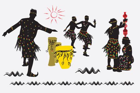 African folk dance. Men and women dance. A man puts a pot on the head of a woman. Illustration