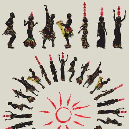 etnia: danza popular africana. Las mujeres con tarros en la cabeza y los hombres que bailan en un círculo alrededor del sol