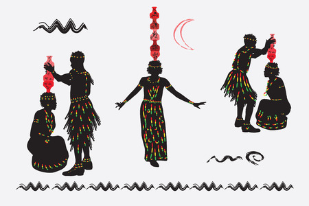 African folk dance. Woman dancing with jugs on their heads. Men prepare women to dance, they put on a womans head  jugs