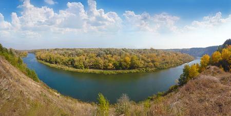 Beautiful autumn panoramic landscape. Tarasova Mountain River Khopyor. Balashov town, Saratov region. Russia.