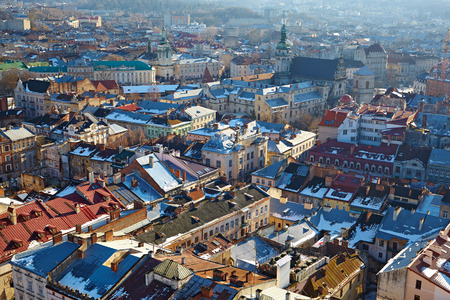 LVIV, UKRAINA -- CIRCA DECEMBER 2013: Winter view of the city center with the Town Hall Editorial