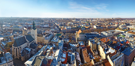 LVIV, UKRAINA -- CIRCA DECEMBER 2013: Panoramic winter view of the city center and Latin Cathedral from the Town Hall Editorial
