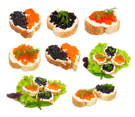 sandwiches with black and red caviar on lettuce leaves, isolated on white background