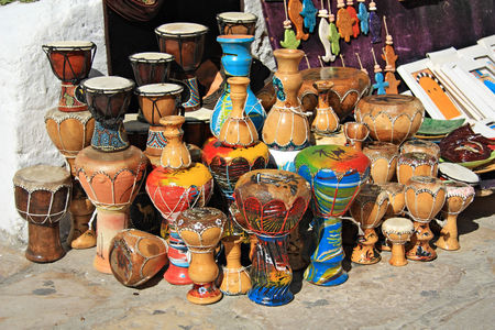 SIDI BOU SAID, TUNISIA -- CIRCA SEPTEMBER 2010: African drums are sold at the town market Editorial