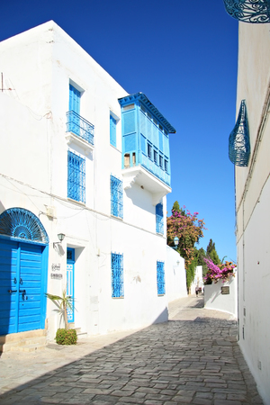 SIDI BOU SAID, TUNISIA -- CIRCA SEPTEMBER 2010: A typical old street of Sidi Bou Said