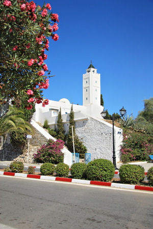 SIDI BOU SAID, TUNISIA -- CIRCA SEPTEMBER 2010: The minaret of ancient mosque in the park and flowering plants
