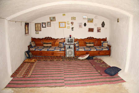 MATMATA, TUNISIA -- CIRCA SEPTEMBER 2010: Traditional Berber dwelling underground. Living room.