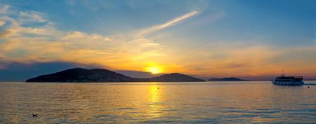 Beautiful sunset on the Princes' Islands. Turkey, Istanbul, the Marmara Sea.