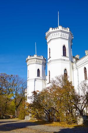 SHAROVKA, UKRAINE - CIRCA OCTOBER 2015: The White Swan palace on blue sky background.