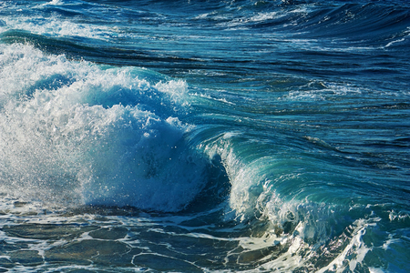 Beautiful transparent sea wave. Abstract water background.
