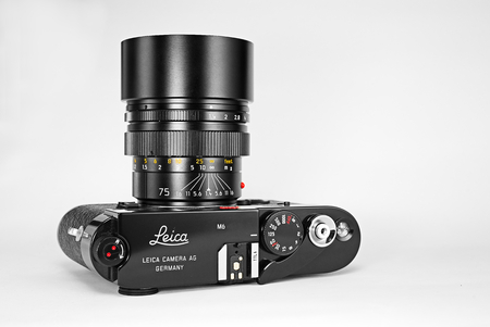 Chinatown,Bangkok/Thailand - January 24 2018 : Photo of rangefinder Telephoto lens for leica m film 35mm camera since 1980 to 2007 by leica germany in name Leica Summilux 75mm F1.4 black chrome.