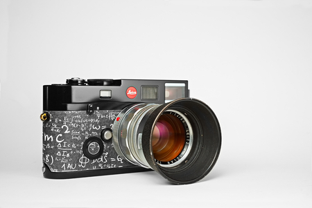 Chinatown,Bangkok/Thailand - January 24 2018 : Photo of graphic science text leather skin on popular rangefinder film camera since 2000 by Leica germany in name Leica M6 Millennium with Leica titanium lens.