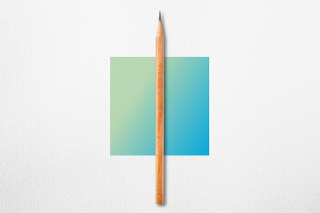 Minimalist template with copy space by top view close up photo of wooden pencil put in the center of texture white paper and combine with blue green gradient square. Flash light made pencil have smooth shadow.