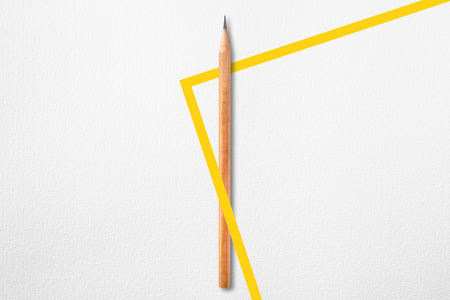 Template with copy space by top view close up photo of wooden pencil put in the center of texture white paper and combine with right angle yellow line. Flash light made pencil have smooth shadow.