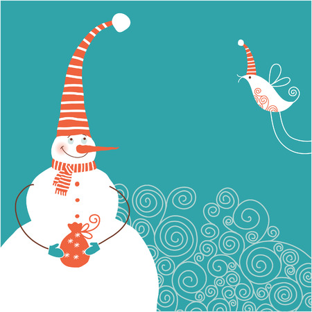 christmas card, funny snowman Vector