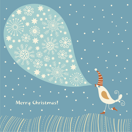 christmas card, wintry song Vector