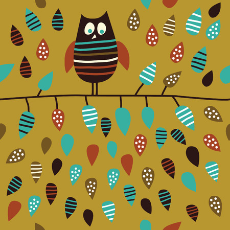 seamless  background with owl Stock Vector - 6257109