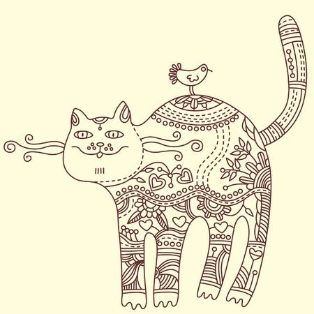 Cat and bird, vector illustration. Greeting card Illustration