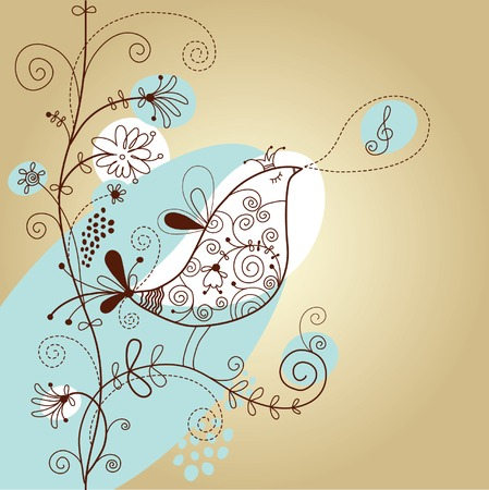 floral illustration with bird Stock Vector - 6272087