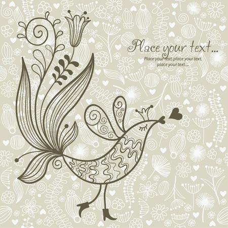 song bird: floral illustration Illustration
