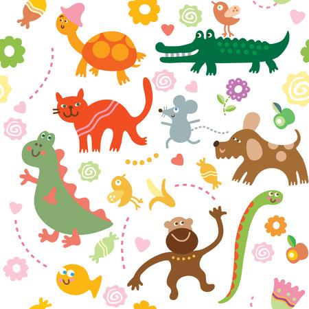 mono caricatura: animales de dibujos animados, patr�n de los ni�os Vectores