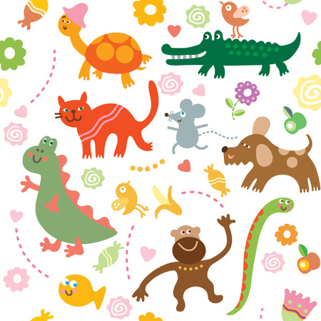 cartoon animals, children's pattern Stock Vector - 6771909