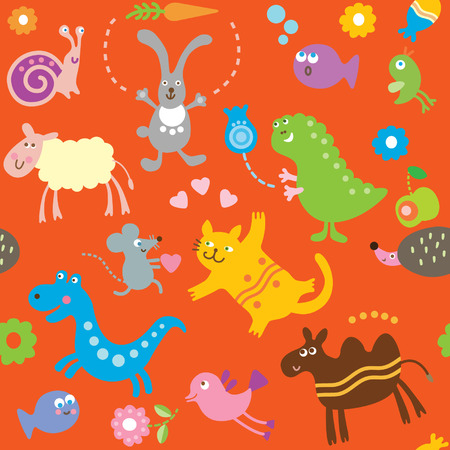 cartoon animals, childrens pattern Vector