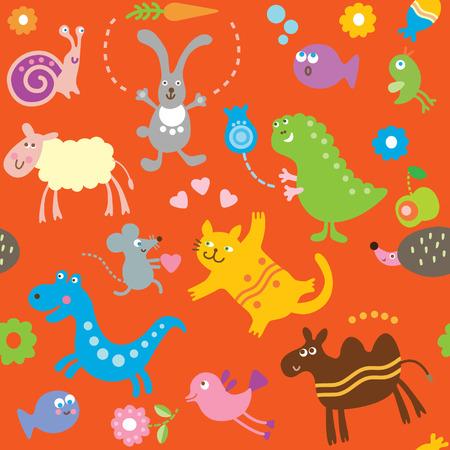 cartoon animals, childrens pattern Vector