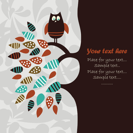 cartoon owl: illustration, place for your text