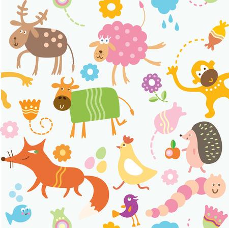 oruga: animales de dibujos animados, patr�n de los ni�os Vectores