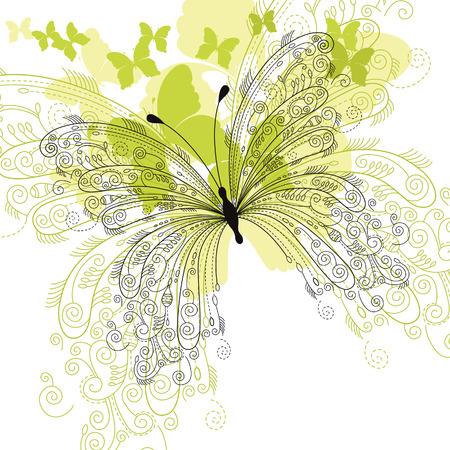 tekening vlinder: elegante bloemen achtergrond, vlinder Stock Illustratie