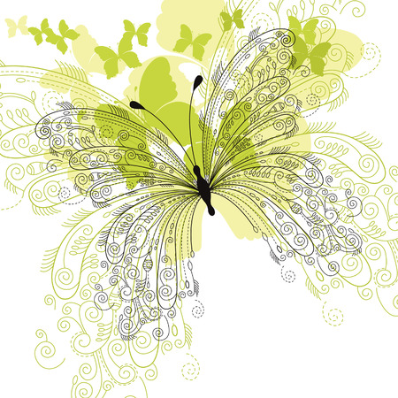 mariposa: fondo floral elegante, mariposa
