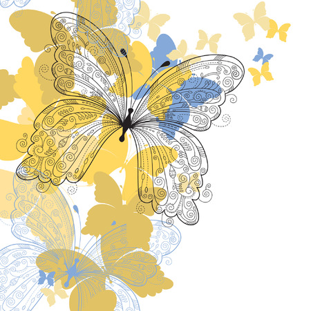 elegant floral background, butterfly Vector