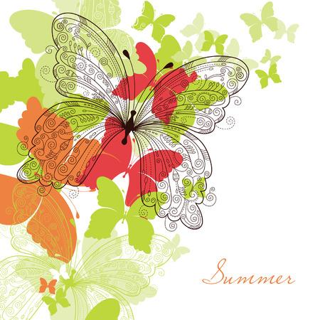 stylize: elegante bloemen achtergrond, vlinder Stock Illustratie