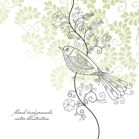 songs: floral background  with bird