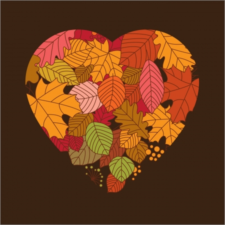 autumn leaves in form of a heart Stock Vector - 17035979