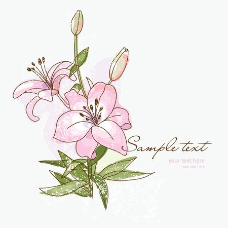 lily flower: bloem voor uw wens kaart of van de uitnodiging