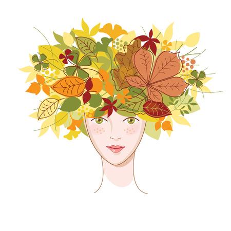 young leaf: mujer joven con hojas de oto�ales  Vectores