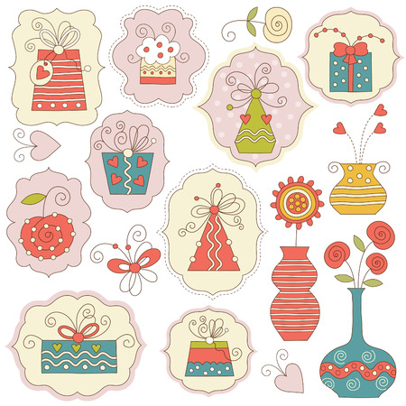 Gift boxes and holiday elements Vector