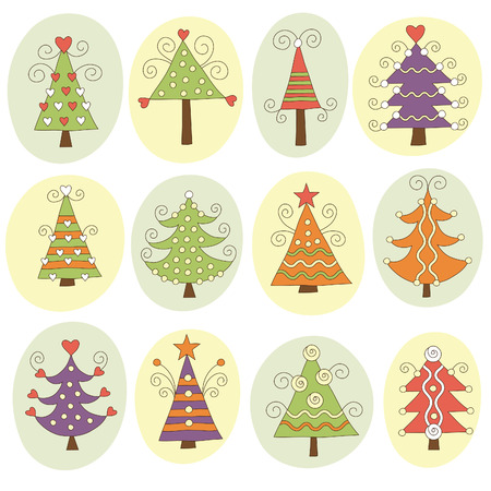 Cute christmas trees Stock Vector - 7957443