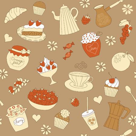 seamless pattern with dessert  Vector