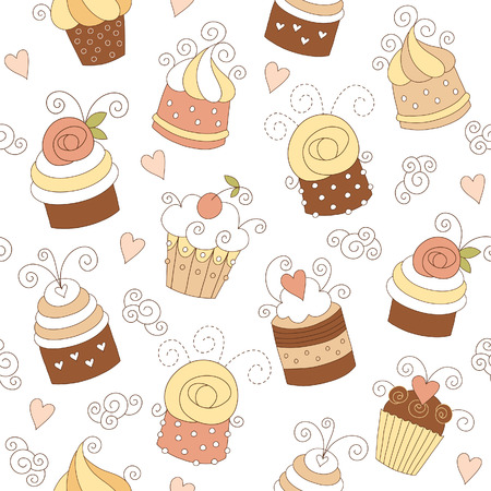 muffins: seamless pattern with cute cupcakes  Illustration