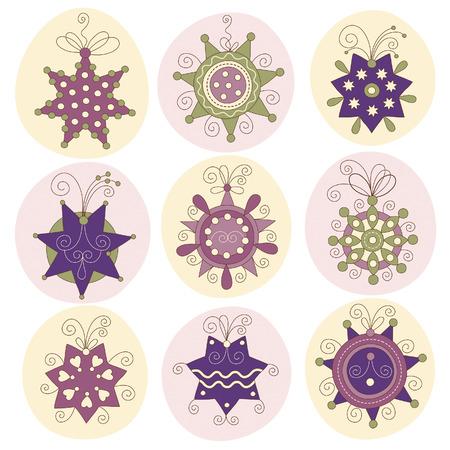 set of cute chritmas stars Stock Vector - 7957446