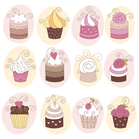 cupcakes isolated: set of cute cupcakes