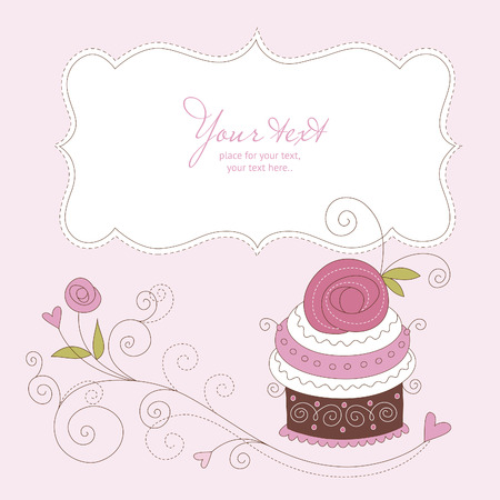 pink cake: Greeting card
